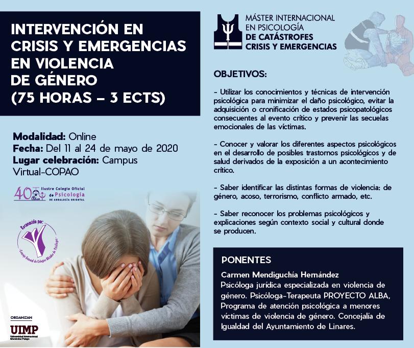 Intervención en crisis y emergencias en violencia de género (75 horas)